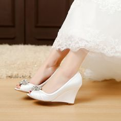 2cfc8744852 satin bridal shoes wedding shoes bridal shoes wedge shoes medium heel peep  toe wedge shoes dress