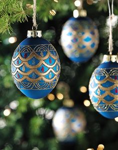 Sapphire Egg Ornaments - Set of 4 - Christmas Tree Ornaments - Holiday | HomeDecorators.com