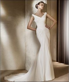 Faddish Slinky Mermaid Wide Straps V-neck Ruched Chiffon Sweep Train Wedding Dress