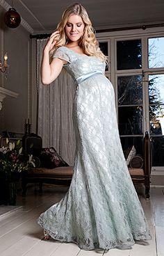 8923654090dde Eva Lace Maternity Gown (Glacier) by Tiffany Rose Military Ball Maternity  Gowns