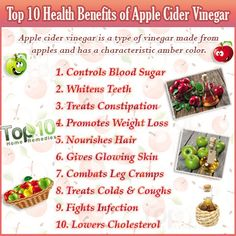 Home Remedies for dandruff, constipation, leg cramps, cold, cough, infections, high cholesterol and more treated with apple cider vinegar
