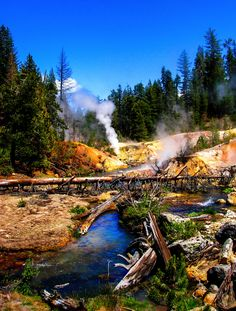 Lassen Volcanic National Park is home to smoking fumaroles, meadows freckled with wildflowers, clear mountain lakes, and numerous volcanoes.