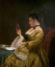 Frith, William Powell (b,1819)- Woman Gazing at Portrait