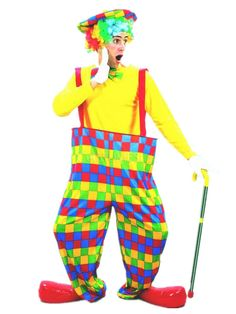 Funny Multi Color Plaid Polyester Clown Halloween Costumes - Costumeslive.com by Milanoo
