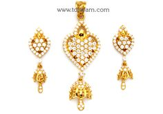 22K Gold Pendant & Earring Set With Cz