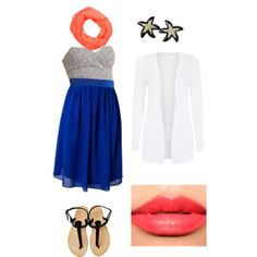 """Light Semi Casual Wear - Cobalt Dress & Coral Accents"" by dizzyu on Polyvore;  Cobalt Chevron Dress"