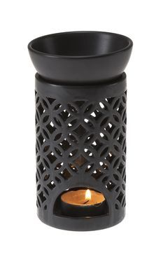 Casa UNO Ceramic Lattice OIL Burner Scented Fragrance Decor Matte Black NEW | eBay
