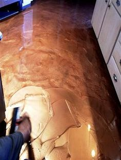 Home - DIY Countertop, bar top, and flooring epoxy. -- metallic copper floor!