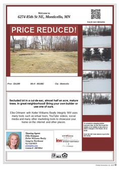 6274 85th St NE Monticello MN 55362 Land Price Reduced! Building lot. Parks and shopping nearby. ISD 882 Monticello schools.