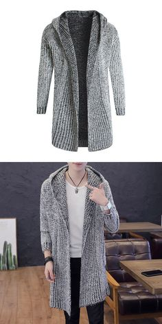 7091b33837f40 Hot sale men cotton solid color long sleeves simple style knitted warm  hooded cardigan  knitwear
