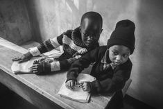 The cute black and white portrait of two Maasai deskmates at their school. Arusha, Tanzania, African Children, Black And White Portraits, Fine Art Photography, School, Cute, African Kids, Kawaii