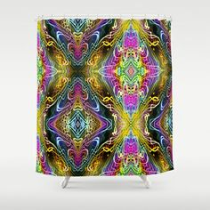 Neon Pinstripes 3 B Shower Curtain by K Shayne Jacobson - $68.00