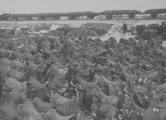 Hungarian military cavalry saddles left after the Germans ate their horses when they ran out of food in Stalingrad.