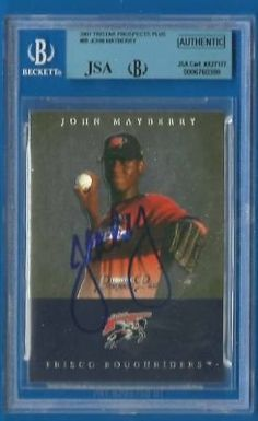 JOHN MAYBERRY JR Signed 2007 Tristar Pros Plus BGS JSA Phillies Autographed by Signed Trading Card. $34.99. Up for sale is a Philadelphia Phillies phenom John Mayberry Jr autographed 2007 Tristar Prospects Plus card #88. Slabbed by Beckett and authenticated by JSA. Nice John Mayberry blue sharpie signature on a key reflective minor league card.