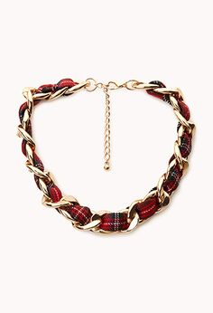 Edgy Plaid Curb Chain Necklace | FOREVER 21 - 1000076132- A VERY cool idea!