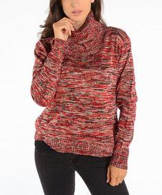 Look what I found on #zulily! Red & Black Space-Dye Turtleneck Sweater by Shoreline #zulilyfinds
