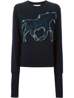 Shop See By Chloé denim horse appliqué sweatshirt  in Smets from the world's best independent boutiques at farfetch.com. Shop 300 boutiques at one address.