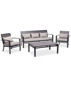 Charmant NEW! Marlough Aluminum Outdoor 4 Pc. Seating Set (1 Sofa, 2
