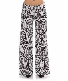 Love this Black & White Damask Palazzo Pants by BOLD & BEAUTIFUL on #zulily! #zulilyfinds