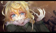 youjo senki tanya degurechaff high resolution large filesize sketch letterboxed 1girl bangs blonde blue eyes eba games female fur trim fur-trimmed jacket gloves hair between eyes jacket lips looking at viewer messy hair military military uniform short hair smile solo uniform zipper