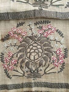 HUGE 19th ANTIQUE OTTOMAN-TURKISH METALLIC & SILKHAND EMBROIDERED RITUAL TOWEL