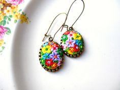 ploymer clay broche | Colorful Flower Earrings, Polymer Clay Jewelry, Colorful Dangle ...