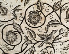 detail of a jacket with blackwork embroidery, Victoria & Albert Museum, London Textile Patterns, Textile Art, Embroidery Patterns, Hand Embroidery, Stitch Patterns, Blackwork Embroidery, Blackwork Patterns, Jacobean Embroidery, Motif Floral