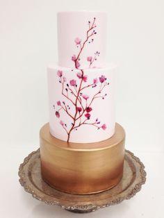 beautiful gold and blush pink cherry blossom wedding cake ~  we ❤ this! moncheribridals.com