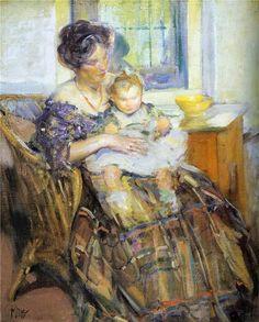 ~Richard E. Miller ~ American Impressionist artist, 1875-1943: Mother And Child