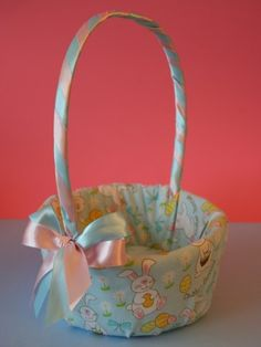 fabric covered basket - these ladies have some really cute ideas on their site!