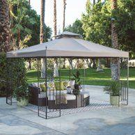 10 x 12 ft Gazebo Patio Pergola Metal Tent Canopy Outdoor Garden Furniture Brown Patio Pergola, Backyard Gazebo, Metal Pergola, Pergola Shade, Patio Roof, Corner Pergola, Diy Gazebo, Cheap Pergola, Metal Roof