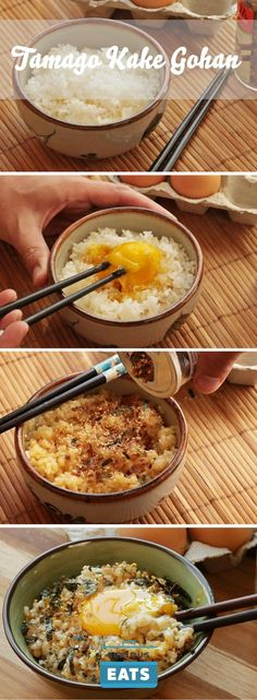 """Tamago gohan (literally """"egg rice"""")—rice mixed with a raw egg—is Japanese…"""