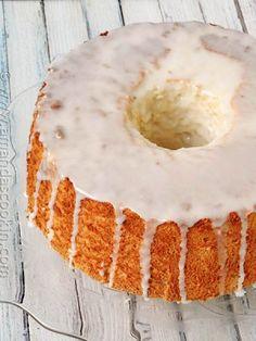 Angel Food Cake with Powdered Sugar Glaze