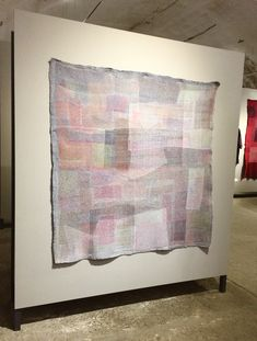 "Tapestry from recycled fabric: City Fog, 2016 | Patricia Yomtov with Sigi Ahl | Wool, Linen | 62"" by 63"", 157cm by 160cm"