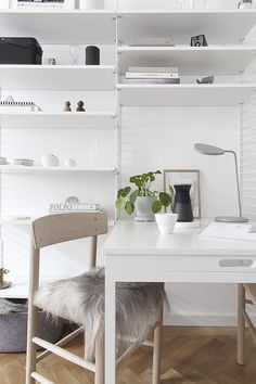 String System in our living room - via Coco Lapine Design Living Room Shelves, Living Room White, Living Room Colors, Living Room Modern, Living Room Sofa, Rugs In Living Room, Home Office, String System, Monochrome Interior