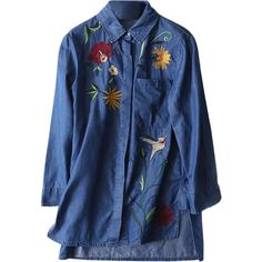 Floral Embroidered High Low Denim Shirt Blue (145 RON) ❤ liked on Polyvore featuring tops, denim shirts, denim top, blue top, blue denim shirt and shirt top