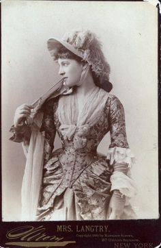 "my-little-time-machine:  Lillie Langtry, 1882  by Napoleon Sarony // Have been fascinated by Lillie since watching the BBC serial. This gown! That hat! (I admit I was also arrested by the title; not sure why it's called ""my little time machine"" but since ""Into the Lair"" is a time travel novel set in Victorian England, I couldn't *not* pin it.)"
