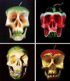 Fruit used to exaggerate the decaying process: human decay - skeleton/skulls showed by decaying fruit to highlight age