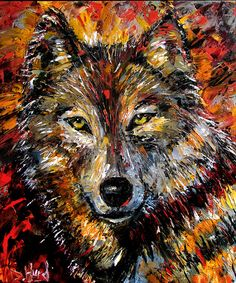 "Daily Painters Abstract Gallery: Wolf Wild Animal Art Original Oil Painting, Animal Paintings, Fine Art ""Encounter"" by Debra Hurd"