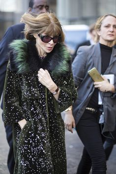 Latest Fashion Week Street Style. Anna Wintour looking suitably regal at New York Fashion Week Fall 2015 #nyfw #annawintour