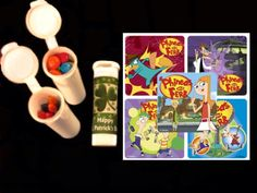 10 Phineas and Ferb stickers plus 10 candy/crayon tubes favors by FlavorfulFavors on Etsy https://www.etsy.com/listing/124884982/10-phineas-and-ferb-stickers-plus-10