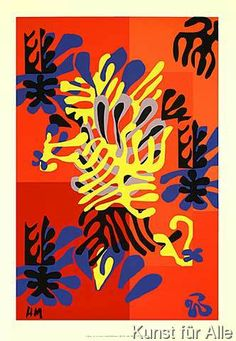 Henri Matisse - La mimosa, 1951. Mimosa, 1949–51, a cut-paper maquette for a rug that was realized in 1951.