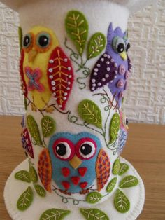 "Etsy Transaction - Large Felt Pincushion - ""Owl Party"""