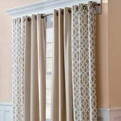 Grommet Top Insulated Curtain Pair-Trellis Print