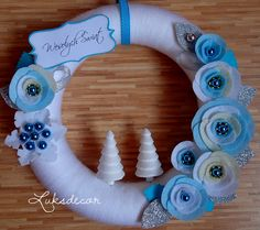 Christmas White Turquoise Yarn Felt Wreath with white turquoise Roses, silver glitter Leafs, Snowflake, turquoise Pearls and white Christmas Trees - https://www.facebook.com