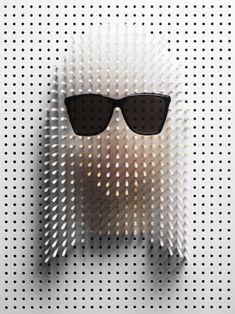 philip karlberg: pin art - celebrity portraits for plaza. lady gaga in yves saint laurent sunglasses.