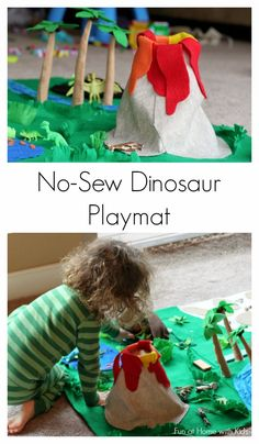No Sew Dinosaur Playmat from Fun at Home with Kids Dinosaur Play, Dinosaur Crafts, Dinosaur Garden, Dinosaur Projects, Toddler Crafts, Toddler Activities, Activities For Kids, Spanish Activities, Vocabulary Activities