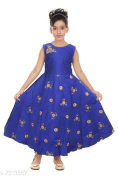 Checkout this latest Frocks & Dresses Product Name: *Girls Maxi/Full Length Party Dress * Fabric: Satin Sleeve Length: Sleeveless Pattern: Embroidered Multipack: Single Sizes: 1-2 Years, 2-3 Years, 3-4 Years (Bust Size: 11.5 in, Length Size: 34 in)  4-5 Years (Bust Size: 12 in, Length Size: 36 in)  5-6 Years (Bust Size: 12.5 in, Length Size: 38 in)  6-7 Years (Bust Size: 14.5 in, Length Size: 41 in)  Country of Origin: India Easy Returns Available In Case Of Any Issue   Catalog Rating: ★4 (242)  Catalog Name: Modern Comfy Girls Frocks & Dresses CatalogID_1171094 C62-SC1141 Code: 824-7313557-9971