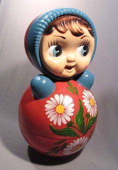 Toy Roly Poly Nevalyashka Tilting Doll Russian Girl Child Soviet Old Vintage