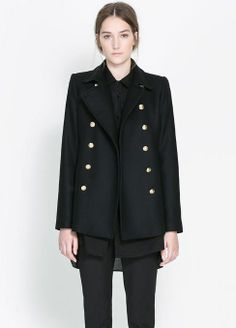 Black Notch Lapel Long Sleeve Buttons Outerwear - Sheinside.com